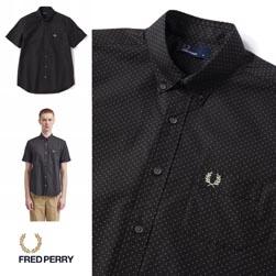 FRED PERRY フレッドペリー / ドットボタンダウンシャツ (F4506) Black -送料無料-