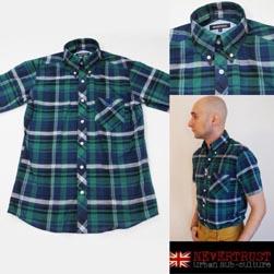 NEVERTRUST ネバートラスト / マドラスチェックボタンダウンシャツ Green x Navy x White -送料無料-