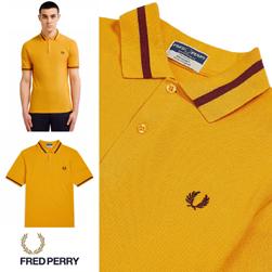 FRED PERRY フレッドペリー / シングルラインポロシャツ(M2) Golden x Maroon -送料無料-