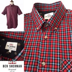 Ben Sherman ベンシャーマン / チェックボタンダウンシャツ Red -送料無料-