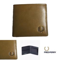 FRED PERRY フレッドペリー / ローレルリーフダイドレザービルフォールド(F19918) Olive -送料無料-