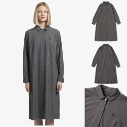 FRED PERRY フレッドペリー / レディースプレイテッドバックシャツドレス(F8517) Mix Grey -送料無料-