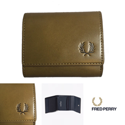 FRED PERRY フレッドペリー / ローレルリーフダイドレザーコンパクトウォレット(F19920) Olive -送料無料-