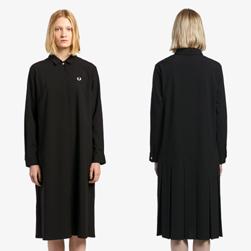 FRED PERRY フレッドペリー / レディースプレイテッドバックシャツドレス(F8517) Black -送料無料-