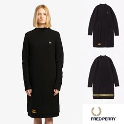FRED PERRY フレッドペリー / レディースクルーネックニットドレス(F8523) Black -送料無料-