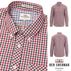 Ben Sherman ベンシャーマン / ハウスチェックボタンダウンシャツ Dark Blue -送料無料-