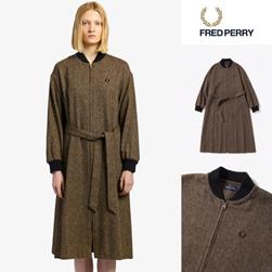 FRED PERRY フレッドペリー / レディースボンバーシャツドレス(F8521) Brown -送料無料-
