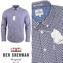 Ben Sherman ベンシャーマン / クラシックギンガムチェックボタンダウンシャツ Blue Depths -送料無料-