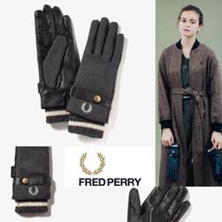 FRED PERRY フレッドペリー / レディースレザーコンビグローブ(F19910) Grey -送料無料-