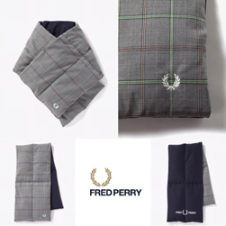 FRED PERRY フレッドペリー / リバーシブルダウンマフラー(F19912) Grey -送料無料-