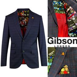 Gibson LONDON ギブソンロンドン / ネイビーチェックジャケット(Marriott) Navy -送料無料-