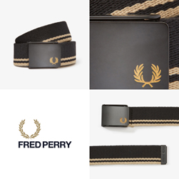 FRED PERRY フレッドペリー / ティップドウェビングベルト(BT8431) Black x Champagne
