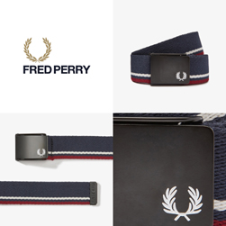 FRED PERRY フレッドペリー / ティップドウェビングベルト(BT8431) Navy x Port x Ecru
