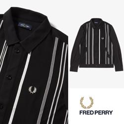 FRED PERRY フレッドペリー / ストライプシャツカーディガン(F1813) Black -送料無料-