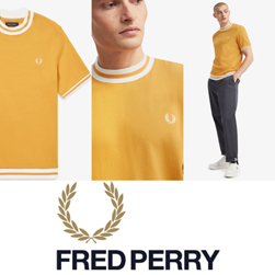 FRED PERRY フレッドペリー / ショートスリーブスウェットシャツ(M8527) Gold -送料無料-