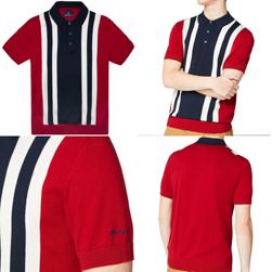 Ben Sherman ベンシャーマン / 60s モッド ストライプニットポロシャツ Red -送料無料-
