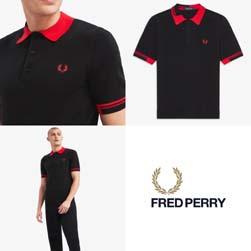 FRED PERRY フレッドペリー / アブストラクトティップドニットポロシャツ(K8516) Black -送料無料-