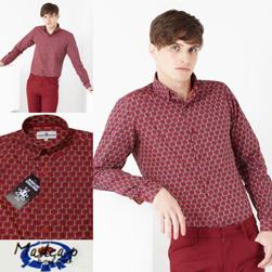 MADCAP ENGLAND マッドキャップイングランド / 60sモッド サイケデリックフローラルヘキサゴンボタンダウンシャツ Red -送料無料-