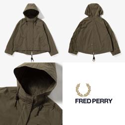 FRED PERRY フレッドペリー / レディースクロップドフィッシュテイルパーカ(F6313) Olive -送料無料-