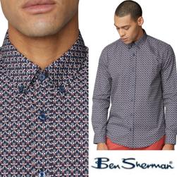 Ben Sherman ベンシャーマン / 60s モッド ジオオプアートフローラルボタンダウンシャツ Dark Navy -送料無料-