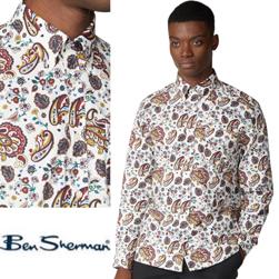 Ben Sherman ベンシャーマン / 60s モッド サイケデリックペイズリーボタンダウンシャツ Ecru -送料無料-