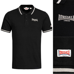 LONSDALE ロンズデール / スリムフィットポロシャツ(CAUSTON) Black -送料無料-