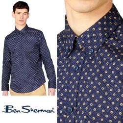 Ben Sherman ベンシャーマン / ミニターゲットスポットボタンダウンシャツ Marine -送料無料-