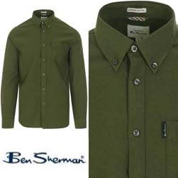 Ben Sherman ベンシャーマン / モッドオックスフォードボタンダウンシャツ Loden -送料無料-