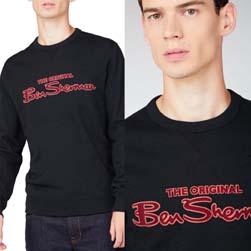 Ben Sherman ベンシャーマン / フロックプリントロゴスウェットシャツ Black -送料無料-