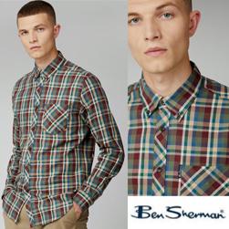 Ben Sherman ベンシャーマン / マドラスチェックボタンダウンシャツ Loden -送料無料-