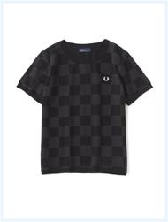 FRED PERRY(フレッドペリー)/チェッカーボードニットTシャツ(F3148) Black -送料無料-