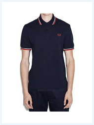 FRED PERRY(フレッドペリー)/ラインポロシャツ(M12N) Navy x White x Red -送料無料-
