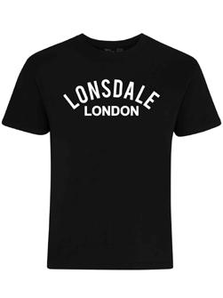 LONSDALE ロンズデール / オールドスクールロゴプリントTシャツ Black -送料無料-